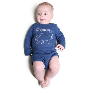 """Langarmbody Baby Body aus Bio-Baumwolle """"Rhino"""" blau - Kipepeo-Clothing"""
