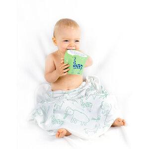 """Baby Bademode Badetuch aus Bio-Baumwolle """"Wanyama"""" 70x70cm weiss - Kipepeo-Clothing"""