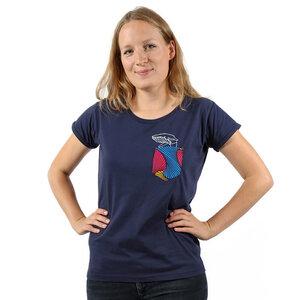"""Damen T-Shirt aus Bio-Baumwolle mit Brusttasche """"Taschenwal"""" navy - Kipepeo-Clothing"""