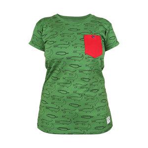 """Gemustertes Damen T-Shirt aus Bio-Baumwolle mit Brusttasche """"Crocodiles"""" gruen - Kipepeo-Clothing"""