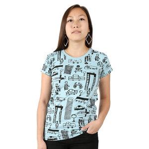 """Gemustertes Damen T-Shirt aus Bio-Baumwolle """"Nairobi City"""" hellblau - Kipepeo-Clothing"""