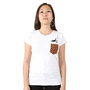 """Damen T-Shirt aus Bio-Baumwolle mit Brusttasche """"Monkey"""" weiss - Kipepeo-Clothing"""