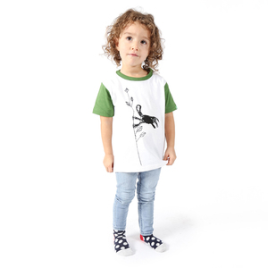 "Kinder T-Shirt aus Bio-Baumwolle ""Monkey"" weiss - Kipepeo-Clothing"