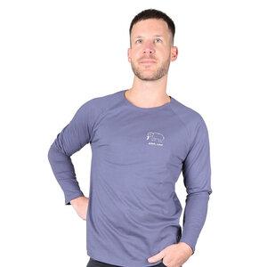 "Herren T-Shirt Langarmshirt aus Bio-Baumwolle mit Bruststick ""Elephant"" charcoal grau - Kipepeo-Clothing"
