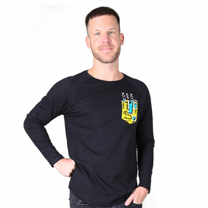 """Herren T-Shirt Langarmshirt aus Bio-Baumwolle mit Brusttasche """"Pocketpeople"""" schwarz - Kipepeo-Clothing"""