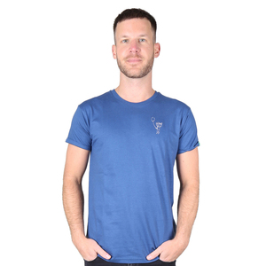 "Herren T-Shirt aus Bio-Baumwolle mit Bruststick ""Boy With Balloon"" blau - Kipepeo-Clothing"