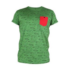 """Gemustertes Herren T-Shirt aus Bio-Baumwolle mit Brusttasche """"Crocodiles"""" gruen - Kipepeo-Clothing"""