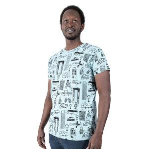 """Herren T-Shirt aus Bio-Baumwolle """"Nairobi City"""" hellblau - Kipepeo-Clothing"""