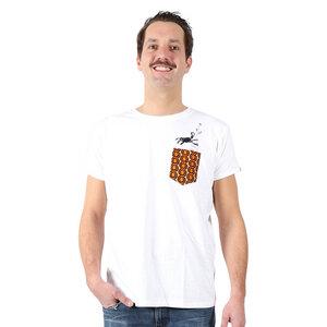 """Herren Print T-Shirt aus Bio-Baumwolle mit Brusttasche """"Monkey"""" weiss - Kipepeo-Clothing"""
