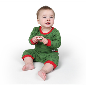 "Baby Schlafanzug Langarmshirt mit Hose aus Bio-Baumwolle ""Crocodiles"" grün - Kipepeo-Clothing"