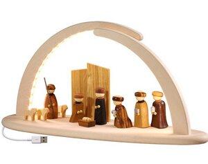 Moderner Schibbogen Christi Geburt Lichterbogen mit LED Beleuchtung  - Seiffener Volkskunst