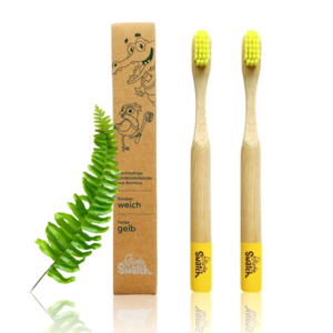 Bambus Kinder Zahnbürste 2er Set - gelb - weich - Powdy & Snatch