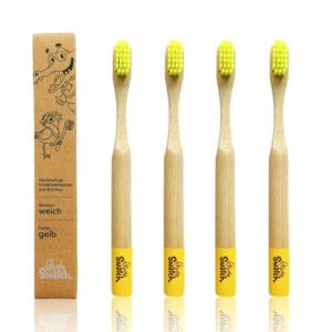 Bambus Kinder Zahnbürste 4er Set - gelb - weich - Powdy & Snatch