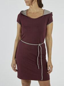 """Kleid """"MALIBU"""" Bordeauxrot mit farblich abgesetzter Kapuze und geflochtenem Gürtel - La Gitana"""