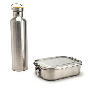 Großes Thermo Set: 1.400 ml Edelstahl Lunchbox | 1 l Thermo Trinkflasche - samebutgreen