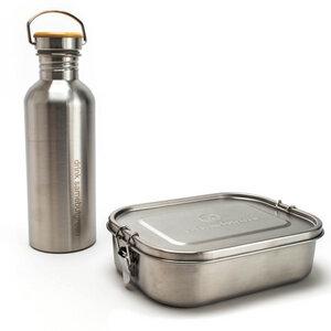 Großes Set: 1.400 ml Edelstahl Lunchbox | 1 Liter Trinkflasche  - samebutgreen