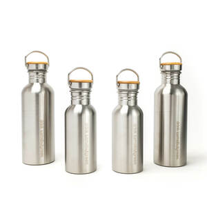 Familienpaket: Edelstahl Trinkflaschen (2x 1l und 2x 0,5l) - samebutgreen
