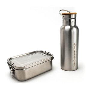 Kleines Thermo Set: 800 ml Edelstahl Lunchbox und 0,5 l Thermo Trinkflasche - samebutgreen