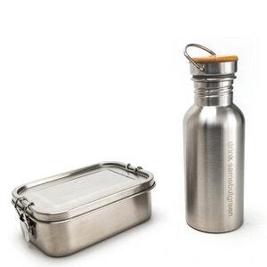 Kleines Set: 800 ml Edelstahl Lunchbox und 0,5 l Trinkflasche - samebutgreen