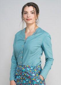 Bluse ohne Kragen und Manschetten - Green Size