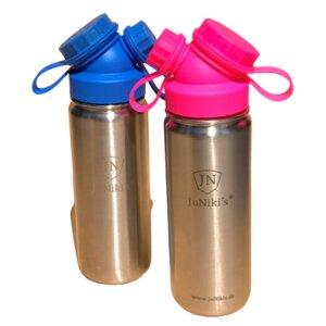 2er Set JuNiki´s® eco line isolierte Edelstahl Trinkflasche 550ml - Blau / Pink - JN JuNiki's