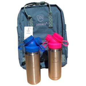 Set: 2x JuNiki´s® 550ml Edelstahl Trinkflasche isoliert Pink / Blau + Rucksack - JN JuNiki's