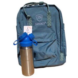 Set: JuNiki´s® 550ml Edelstahl Trinkflasche isoliert Pink oder Blau + Rucksack - JN JuNiki's