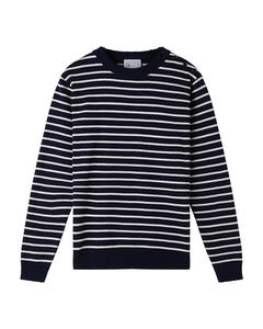 Coastal Stripe Cotton Jumper - Navy/White - Le Pirol