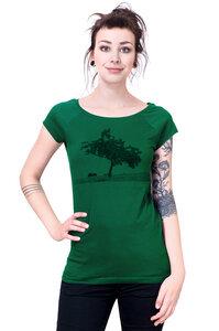 """Bio-& Fair-Trade-Frauenshirt """"Apfelbaum"""" dunkelgrün - Hirschkind"""