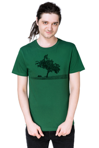 """Bio- & Fair-Trade-Männershirt """"Apfelbaum"""" dunkelgrün - Hirschkind"""