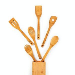 6er Set Küchenzubehör inkl. Aufbewahrungsbox | Kochbesteck aus 100% nachhaltigem Bambus - Bambuswald