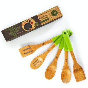 5er Set Küchenzubehör mit Silikongriff | Kochbesteck aus 100% nachhaltigem Bambus - Pfannenwender Set Küchenhelfer - Bambuswald