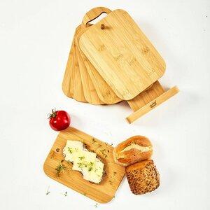 6er Set Frühstücksbrettchen mit Ständer | 100% nachhaltiger Bambus - Frühstücksbretter Schneidebretter Brettchenständer Holzbrett - Bambuswald