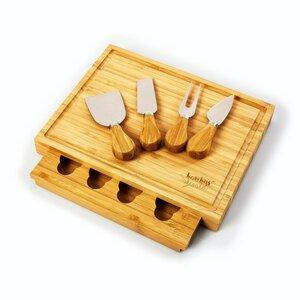 Käsebrett mit Käsemesser (4 Stück) - 100% nachhaltiger Bambus | Käseplatte Schneidebrett Besteck Käseschneidebrett - Bambuswald
