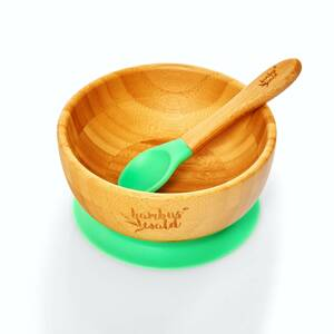 Saugnapf-Schüssel inkl. Löffel für Babys & Kleinkinder | 100% nachhaltige Schale aus Bambus - Bambuswald