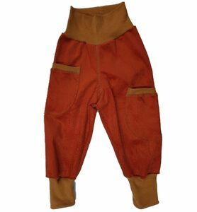 Kinder-/Baby-Mitwachshose aus terrafarbenem Stretch-Cord mit Taschen  - Omilich