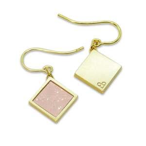 Kork Ohrhänger Gold Quadrat | Square Anhänger Holz | Geschenk Box  - KAALEE jewelry