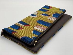 """Clutch """"Ghana"""" Handtasche aus Leder und Baumwollstoff mit afrikanischem Print - ONE OF EACH"""