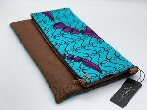 """Clutch """"Nigeria"""" Handtasche aus Leder und Baumwollstoff mit afrikanischem Print - ONE OF EACH"""
