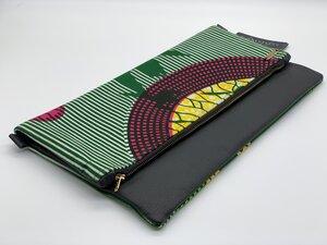 """Clutch """"Ghana II"""" Handtasche aus Leder und Baumwollstoff mit afrikanischem Print - ONE OF EACH"""