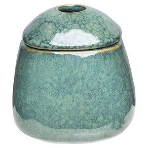 Zuckerdose aus Steinzeug mit reaktiver Glasur in emerald - TRANQUILLO