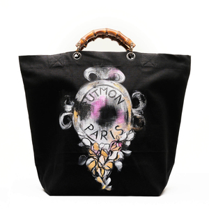 "Shopper ""Parisienne"" aus Bio-Baumwolle mit handbemaltem Motiv - UTMON ES POUR PARIS"
