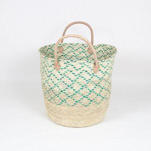 Mkeka Palmblatt Korbtasche, Shopper, Strandtasche gemustert - Hadithi