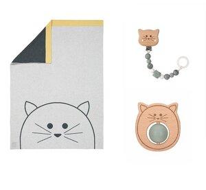 Geschenk Set zur Geburt: Lässig Baydecke Little Chums, Schnullerkette und Rassel Hund, Katze oder Maus - Lässig