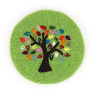 Topfuntersetzer TREE OF LIFE aus Wollfilz - GLOBO Fair Trade