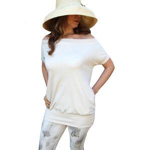 Kurzarm Zwei Taschen Maxi Blouse - Biologischer Pima Baumwolle - B.e Quality