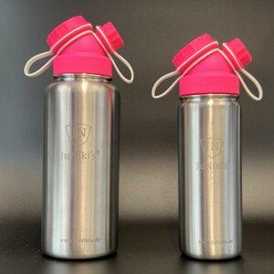 Set JuNiki´s® eco line isolierte Edelstahl Trinkflaschen 550ml + 1 L Pink/Weiss - JN JuNiki's