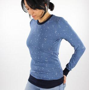 Damen-Longsleeve blau mit Sternen - fuxandfriends