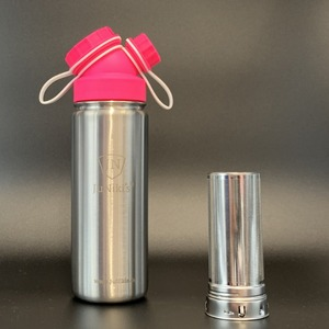 JuNiki´s® eco line isolierte Edelstahl Trinkflaschen 550ml Pink/Weiss + Teefilter - JN JuNiki's