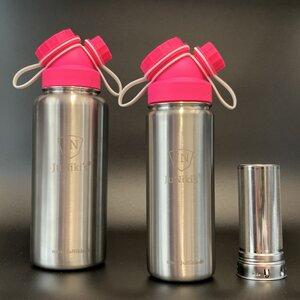 Set JuNiki´s® eco line isolierte Edelstahl Trinkflaschen 550ml + 1 L Pink/Weiss + Teefilter - JN JuNiki's